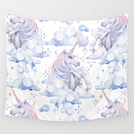Watercolor unicorn in the sky Wall Tapestry