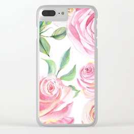 Roses Water Collage Clear iPhone Case