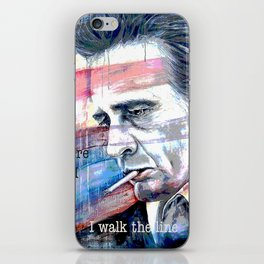 """Johnny Cash Painting """"I Walk The Line"""" iPhone Skin"""