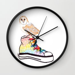 Owl on sneaker Wall Clock