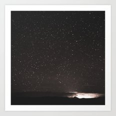 Stars and Space Night Sky - Black and White Galaxy Art Print
