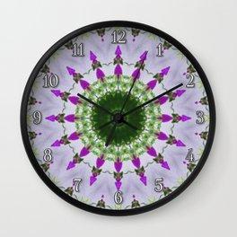 Purple Wildflower Kaleidoscope Art 3 Wall Clock