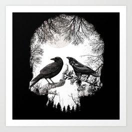 crow skull Art Print