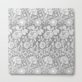 "William Morris Floral Pattern | ""Pink and Rose"" in Grey and White Metal Print"