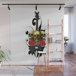 Red Rose Skull Rock and Roll Wall Mural