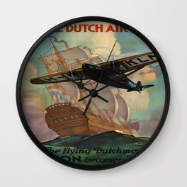 Vintage poster - Royal Dutch Airlines Wall Clock