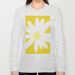 Only One White Daisy Flower Yellow Mellow Background #decor #society6 #buyart Long Sleeve T-shirt
