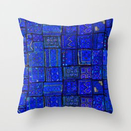 -A2- Lovely Calm Blue Traditional Moroccan Pattern Artwork. Throw Pillow