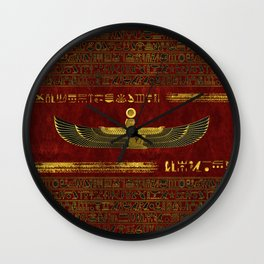 Golden Egyptian God Ornament on red leather Wall Clock