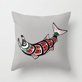 Haida Salmon Throw Pillow