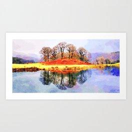 Winter trees Reflected in Lake Windermere, Lake District, UK. Watercolour Painting. Art Print