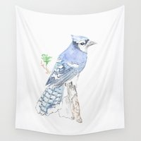 jay fleck Wall Tapestries featuring Blue Jay by Annie Mason