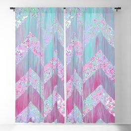 Geometrical pink teal watercolor splatters brushstrokes chevron Blackout Curtain