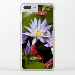Water lilies colorful photograph Clear iPhone Case