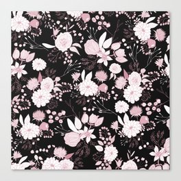 Blush pink white black rustic abstract floral illustration Canvas Print