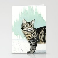 maine Stationery Cards featuring Maine Coon by Priscilla George