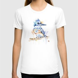 Kingfisher Colorful Watercolor Bird Painting T-shirt
