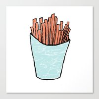 fries Canvas Prints featuring fries by Erik Berg