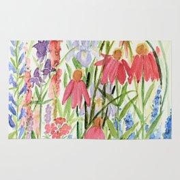Garden Flowers Watercolor Rug