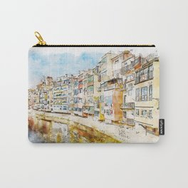 Aquarelle sketch art. Colorful houses and reflected in water river Onyar, in Girona, Catalonia, Spain Carry-All Pouch