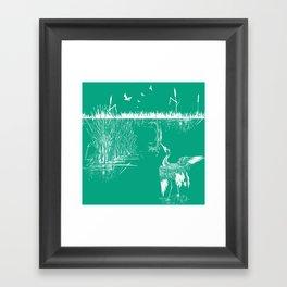Oriental Exotic Heron & Boirds on a Lake Print - Emerald Green Framed Art Print