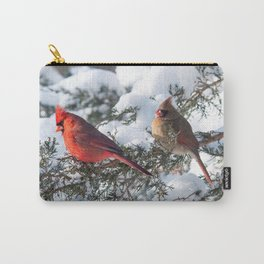 Sunny Winter Cardinals (square) Carry-All Pouch