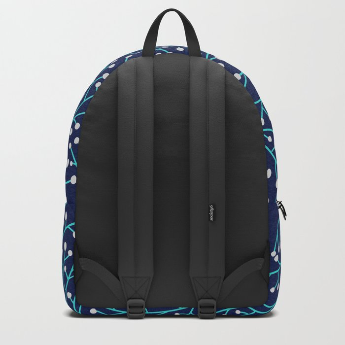 Berry Branches - Turquoise on Navy Backpack