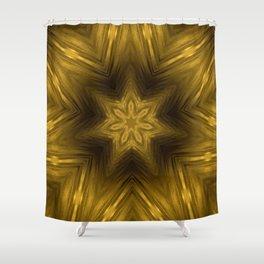 Golden Amber Metalic Abstract Star #Kaleidoscope Shower Curtain