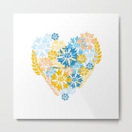 Cornflowers and Wheat Heart Metal Print