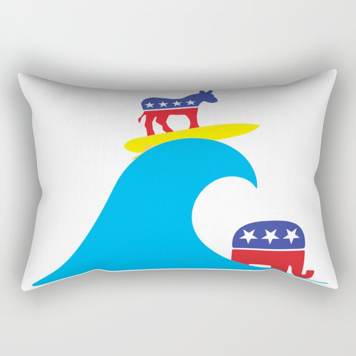 Democratic Donkey Riding Midterm Eection Blue Wave Rectangular Pillow