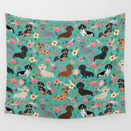 Dachshund florals flower pet portrait dog art dachsie doxie pet art dog breeds Wall Tapestry