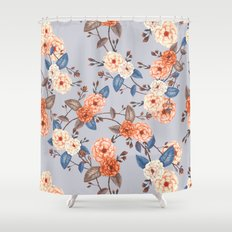 Roses, Auburn and Dove Grey Shower Curtain