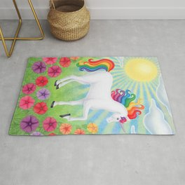 daydreamer (rainbow unicorn), sunshine, petunias Rug