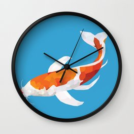 Geo Koi Orange & White Wall Clock