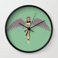 superheros Wall Clocks featuring Hawkgirl by karla estrada