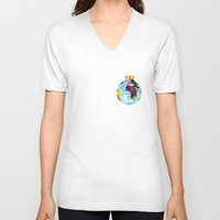 globe V-neck T-shirts featuring Globe Bauble by Bridget Davidson