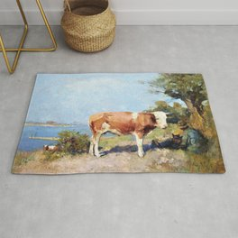 Landscape with a cow and a herdsman resting - Julius Garibaldi Melchers Rug