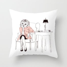 Bestial lonely lady Throw Pillow