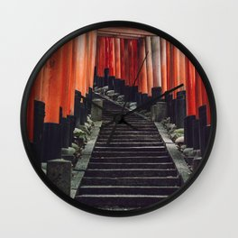 Red Arches of Fushimi Inari-taisha. Kyoto, Japan. Culture Travel Print - Photography Wall Art.  Wall Clock