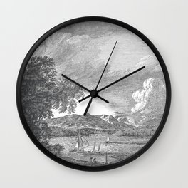 Hudson River and Catskills, Graphite and Crisp White Wall Clock