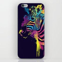 Zebra Splatters Colorful Animals iPhone Skin