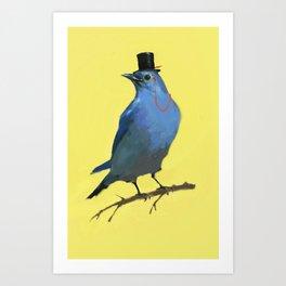 A Dapper Bluebird Art Print