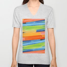 Color yellow red blue green Unisex V-Neck