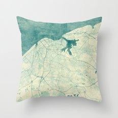 Havana Map Blue Vintage Throw Pillow