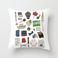 doctor who Throw Pillows featuring Doctor Who by Shanti Draws