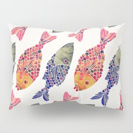 Indonesian Fish Duo – Navy & Coral Palette Pillow Sham