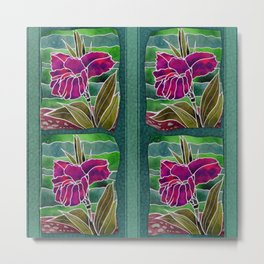 Tiled Purple Cannas Metal Print