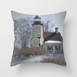 Lighthouse during Winter in Whitehall Michigan Throw Pillow