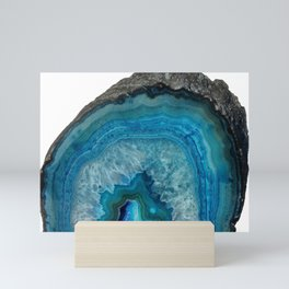 Blue Agate Geode Crystals Mini Art Print
