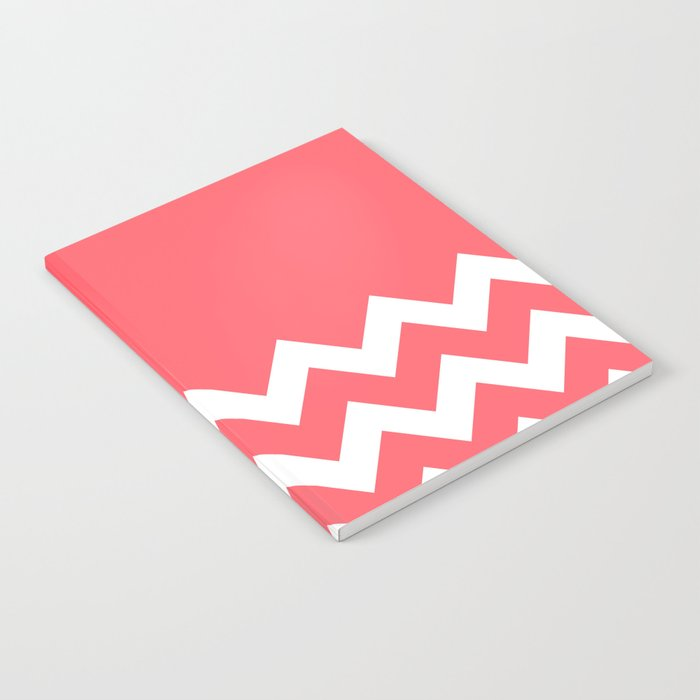 Coral Red Chevron Colorblock Notebook
